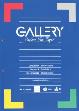 Gallery cursusblok, ft A4, 80 g/m², 2-gaatsperforatie, geruit 5 mm, 100 vel
