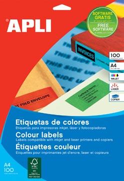 Apli Gekleurde etiketten ft 210 x 297 mm (b x h), geel, 100 stuks, 1 per blad