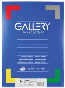Gallery witte etiketten ft 70 x 37 mm (b x h), rechte hoeken, doos van 2.400 etiketten