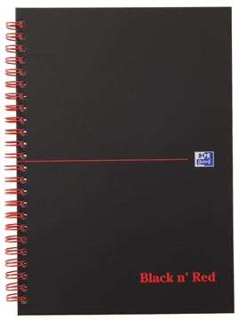 Oxford BLACK N' RED spiraalblok karton, 140 bladzijden ft A5, geruit 5 mm