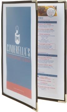 Securit menukaart Crystal, ft A4, transparant, 2 insteektassen