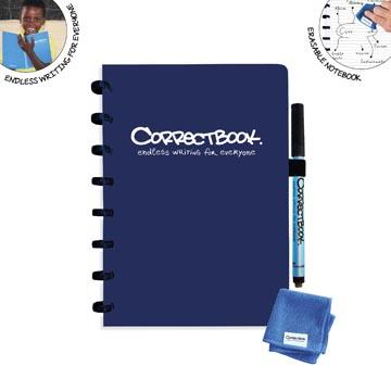 Correctbook A5 Original: uitwisbaar / herbruikbaar notitieboek, gelijnd, Midnight Blue (marineblauw)