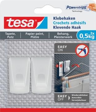 Tesa Klevende Haak, draagkracht 0,5 kg, behang en pleisterwerk, wit, 2 haken en 3 strips