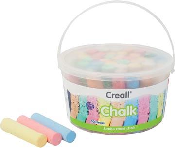 Havo stoepkrijt Chalk emmertje van 50 stuks
