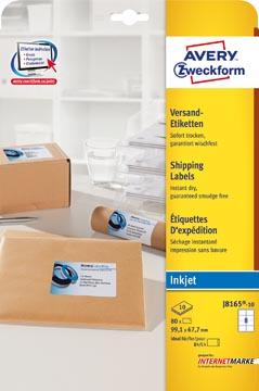 Avery Witte etiketten QuickDry doos van 10 blad, ft 99,1 x 67,7 mm (b x h), 80 stuks, 8 per blad Met ...