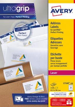 Avery L7160, Adresetiketten, Laser, Ultragrip, wit, 100 vellen, 21 per vel, 63,5 x 38,1 mm