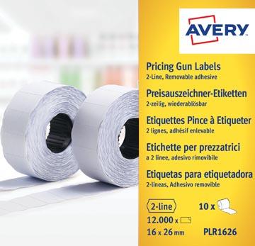 Avery PLR1626 etiketten voor prijstang non-permanent, ft 26 x 16, 12 000 etiketten, wit